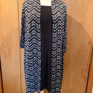 Sz 18 Faux 2pc  duster dress in black and teal